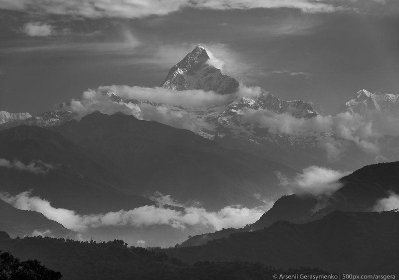 Machapuchare or Fishtail sacred summit in the Himalayas