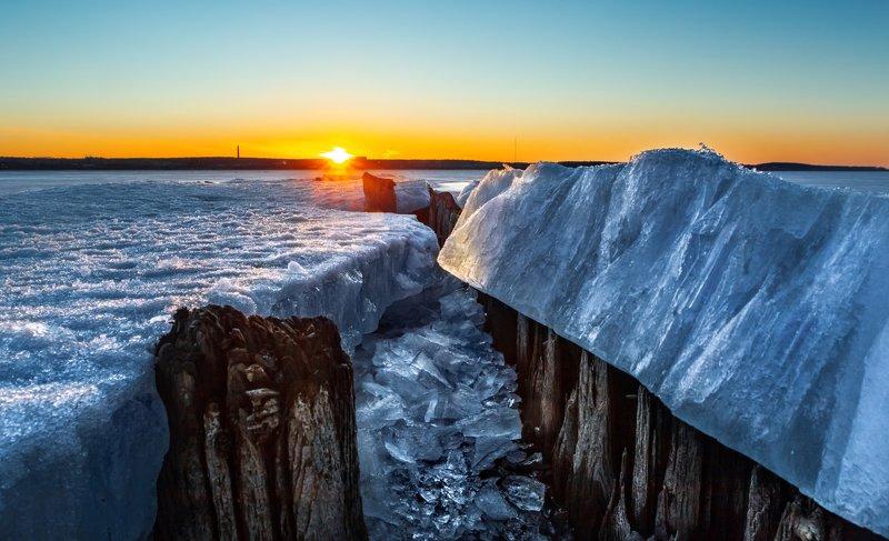 Sunset, Evening, Закат, лед, пейзаж Sunsetphoto preview