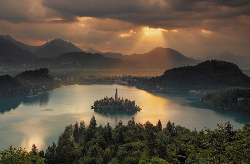 mountains, bled, slovenia, sunrise, landscape, nature, travel, summer, peak, clouds Golden Timesphoto preview
