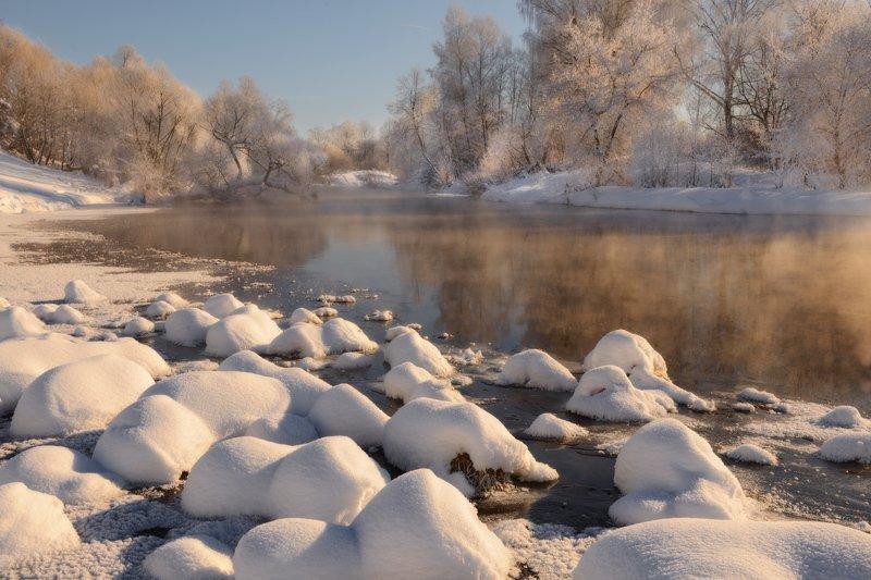 небо, снег, мороз, речка, зима, иней Так морозно, светло и бело!photo preview