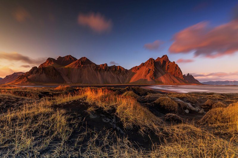 iceland, mountain, sunset, ocean Vestrahornphoto preview