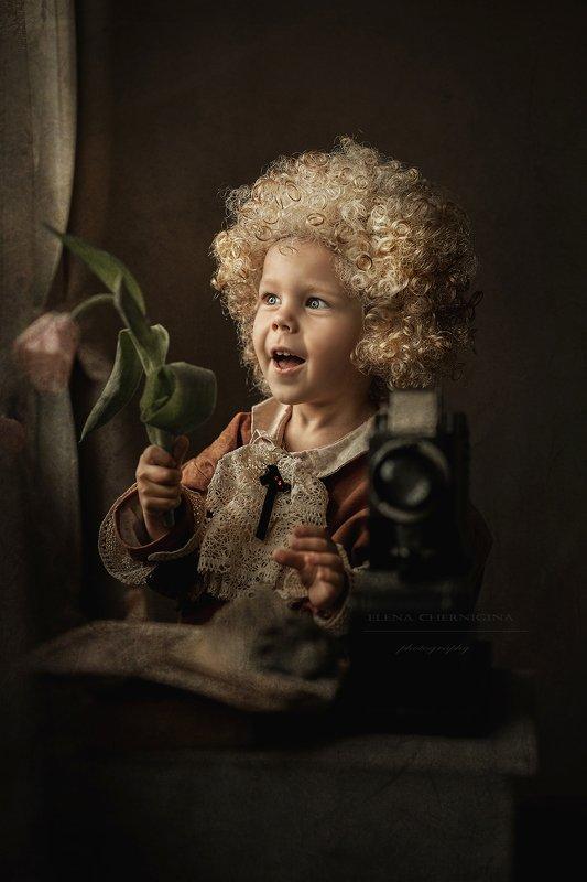 мальчик, дети, портрет, ребенок, кудрявый, кудри, винтаж, ретро, кукла Юный Моцартphoto preview
