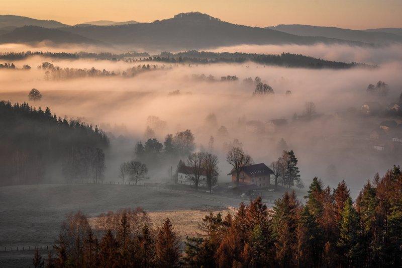sunrise, fog, landscape, nature, mist, light, village, forest, trees First spring sunrisephoto preview