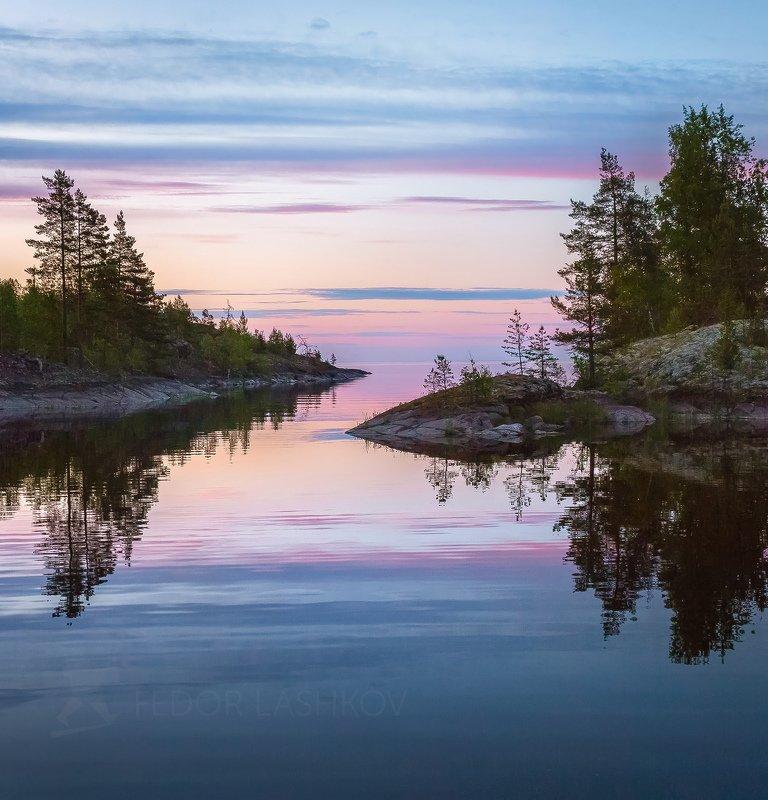 ладожское озеро, карелия, шхеры, лето, остров, берег, штиль, вода, рассвет, заря, плавание, путешествие, отражение, сосна, облака, Тишина рассветнаяphoto preview