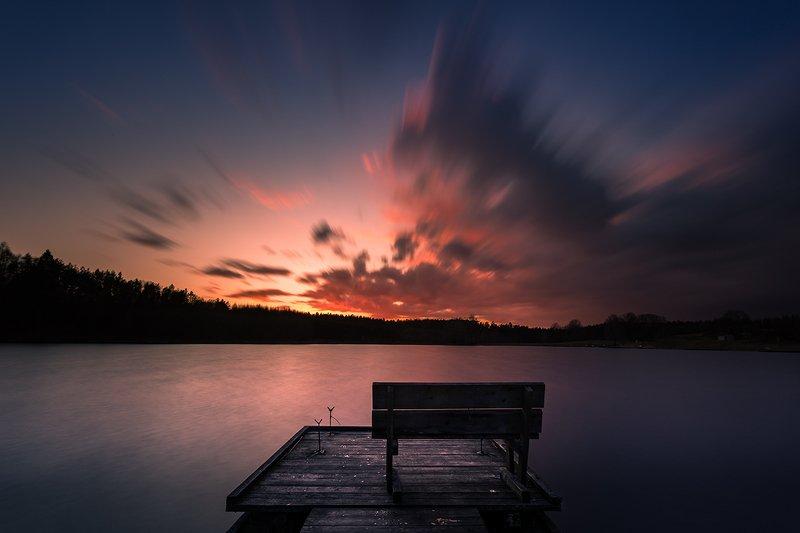 kaszuby, lake, water, clouds, evening, bench, pier, pomerania Benchphoto preview
