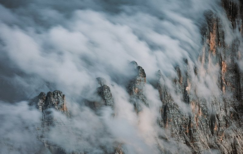 mountains, dolomites, italy, sunset, landscape, nature, travel, summer, peak, clouds Clouds Waterfallphoto preview
