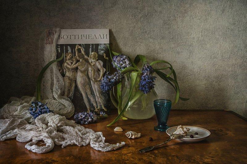 натюрморт, стекло, цветы, гиацинты, ракушки Боттичеллиphoto preview