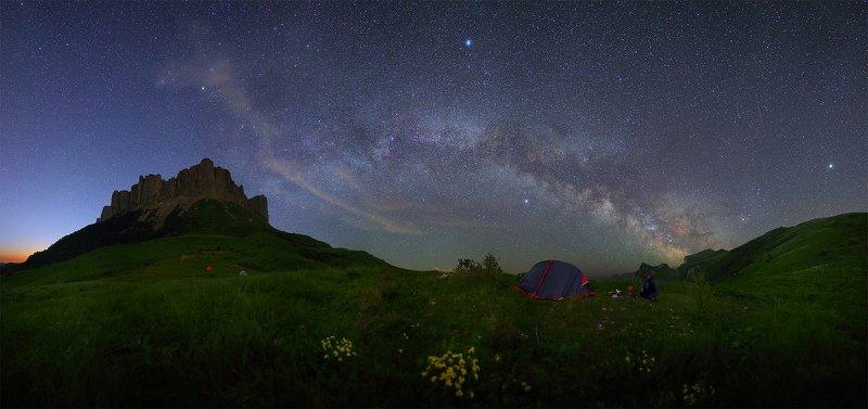 ночь большой тхач ночной пейзаж астрофотография звезды созвездия млечный путь ачешбоки Звездная ночь Большого Тхачаphoto preview