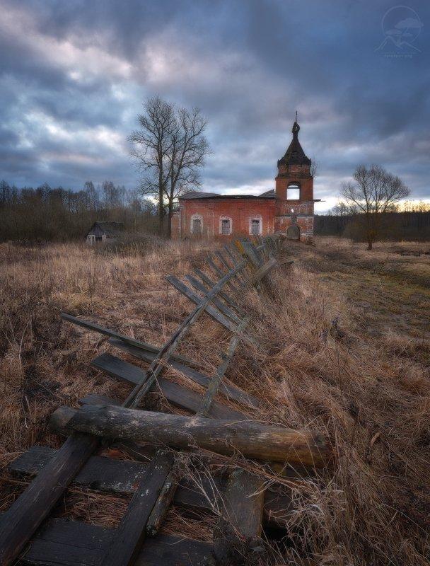 пейзаж, церковь, весна Головиноphoto preview