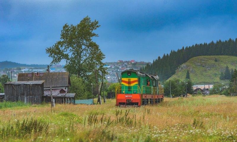 жд,железная дорога,поезд,россия,пейзаж,skrylov,skrylov_official,лето,нязепетрвоск,поле,деревня,ЧМЭ3,корова,пастораль ***photo preview