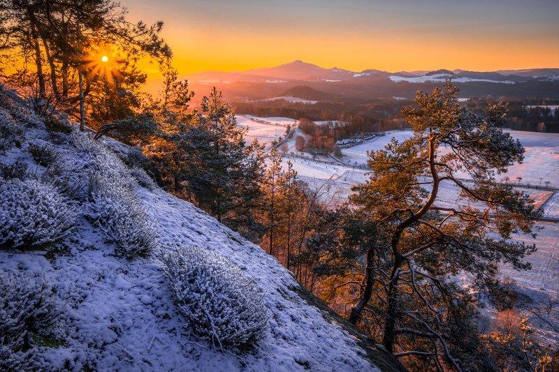sunrise, sun, sunstar, landscape, nature, mountain, snow, spring, trees,  Fresh snow sunrisephoto preview