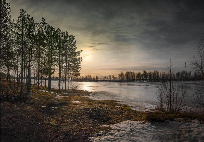 архангельская обасть, ночное фото, луна, русский север, северодвинск photo preview