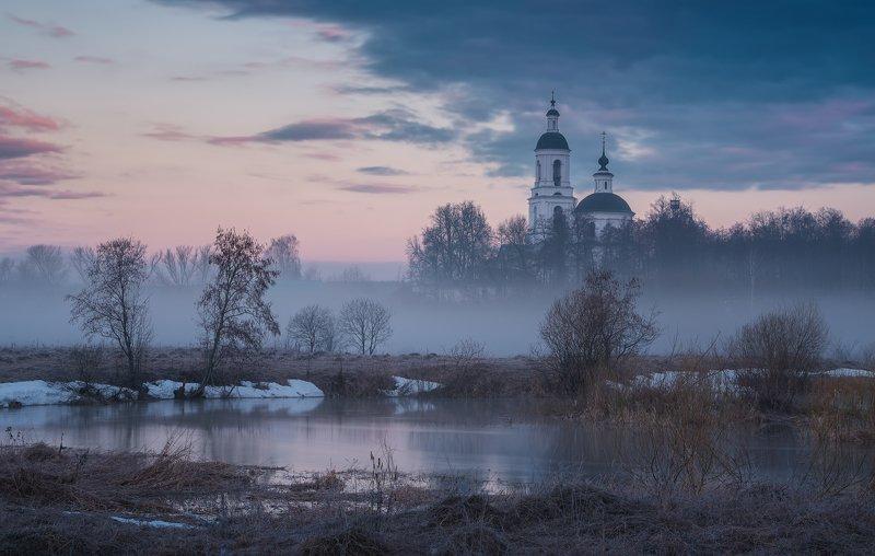 пейзаж, филипповское, утро, весна, природа, туман Окутанный туманомphoto preview
