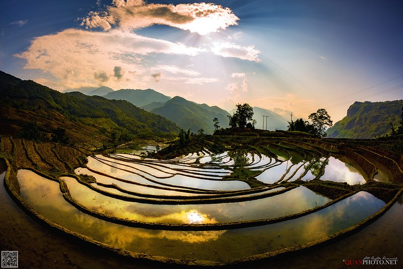 quanphoto, landscapes, reflections, terraces, farmland, agriculture, mountains, valley, vietnam a Huge Mirrorphoto preview