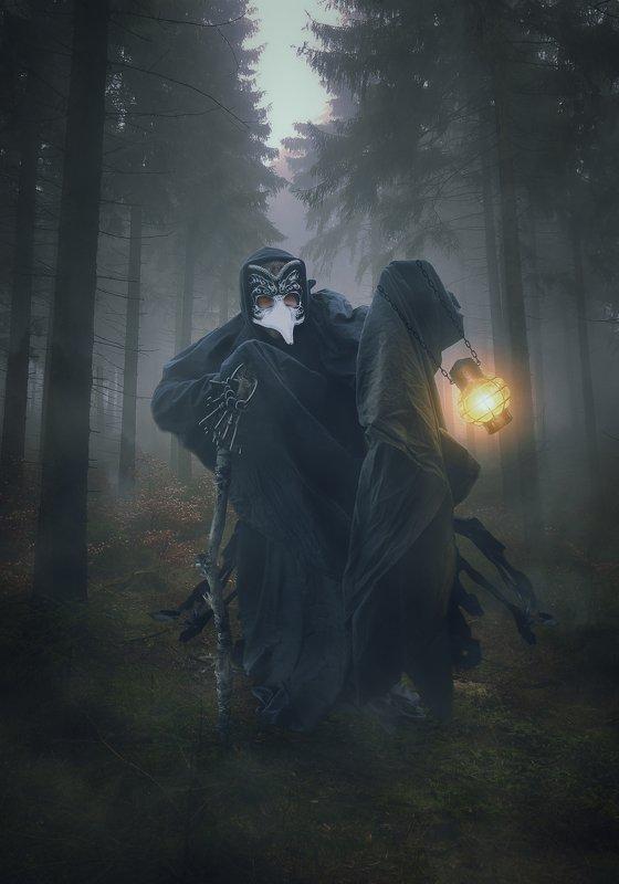 лес, туман, фонарь, существо Ключникphoto preview