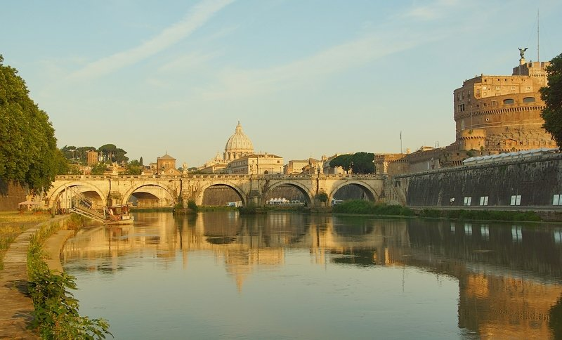 morning, summer, city, river, bridge, cathedral, sky, architecture, castle, fortress, bastion, rome, italy, vatican, embankment, history Roman postcardphoto preview