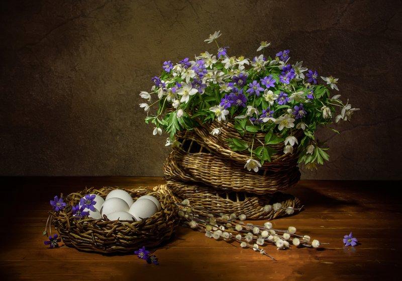 натюрморт, верба, ветреница, пролески, яйца, вербное Вербное.... фото превью