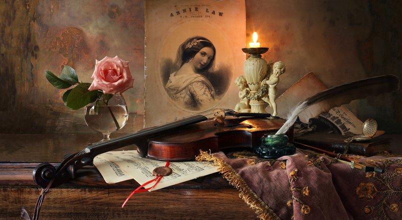 скрипка, музыка, натюрморт, свеча, роза, девушка, рисунок, цветок Натюрморт со скрипкойphoto preview