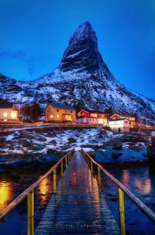 лофотены, норвегия, рейне, рог, гора, вечер, lofoten, norway, horn, mountain, reine Рог фото превью