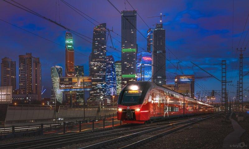 Москва, ночь, город, москва-сити, поезд, электричка, штадлер, stadler, skrylov_official ***photo preview