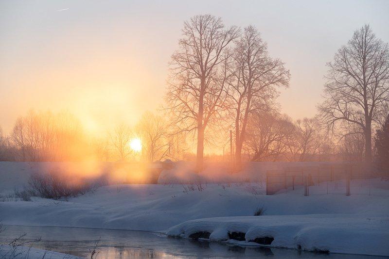 дунилово, рассвет, теза, туман photo preview