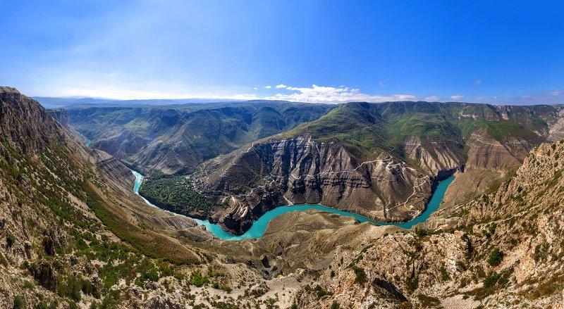 Горы, Сулак, каньон, Дагестан, река, Панорама Сулакский Каньон photo preview