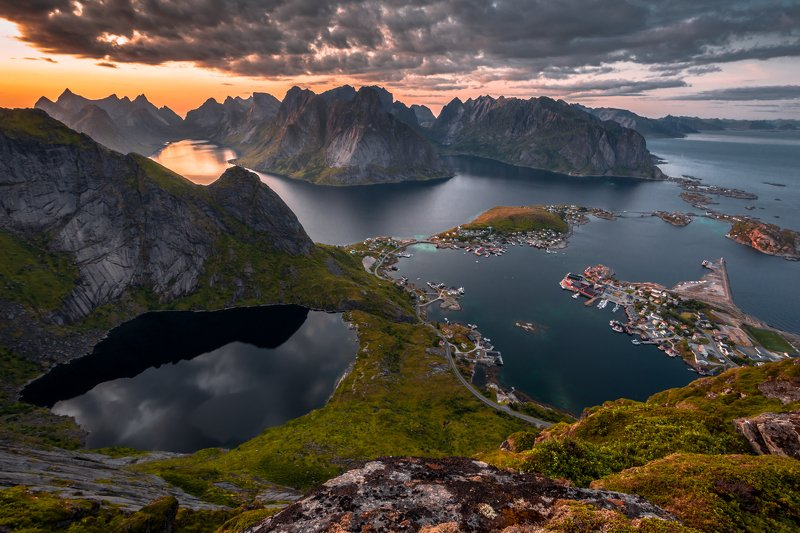 lanscape, sunset, mountains, nature, sea, ocean, water, rocks, village, view, norway, lofoten Beauty of Lofotenphoto preview