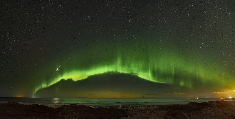 архангельская обасть, ночное фото, белое море, русский север, северное сияние Aurora Borealis над Белым моремphoto preview