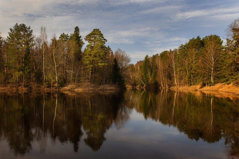 рассвет, золотой час, река, керженец, вода, пейзаж, отражения Место силыphoto preview