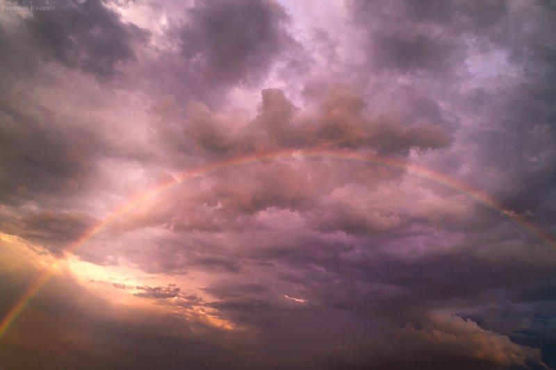 радуга, вечер, небо, облака, тучи Вечерняя радугаphoto preview