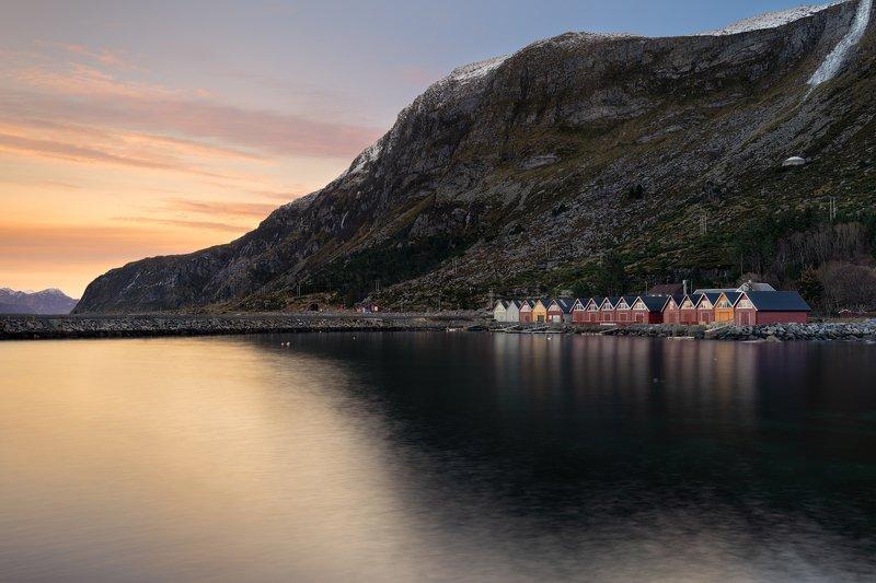 silent, isolation, sunset, colors, landscape, norway, godoya, island, house Isolationphoto preview