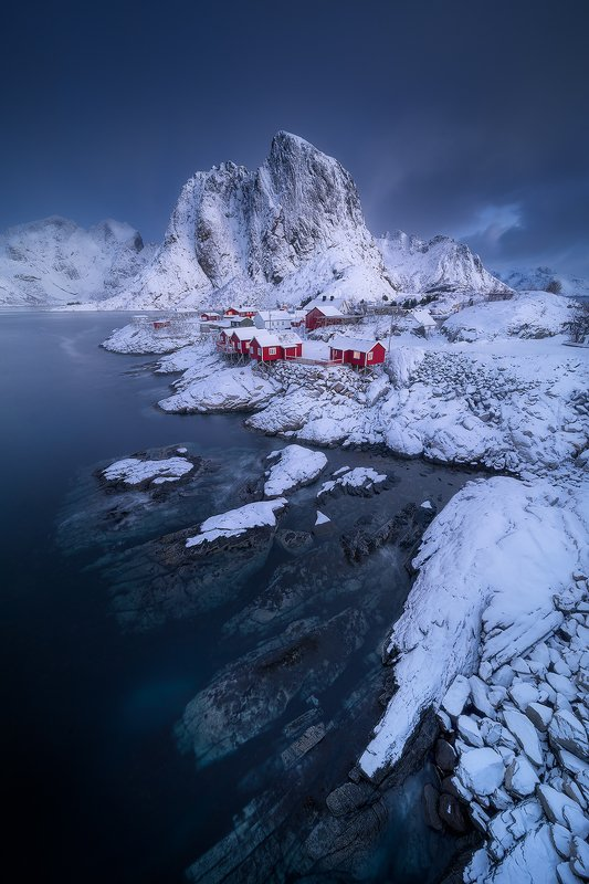 lofoten norway winter landscape snow blue red ocean arctic clouds  hamnoyphoto preview