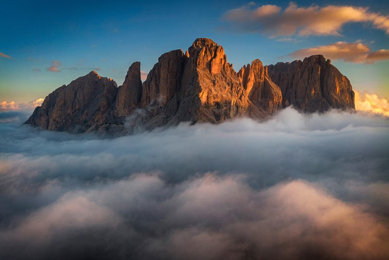 mountains, dolomites, italy, sunrise, landscape, nature, travel, summer, peak, clouds Over the Cloudsphoto preview