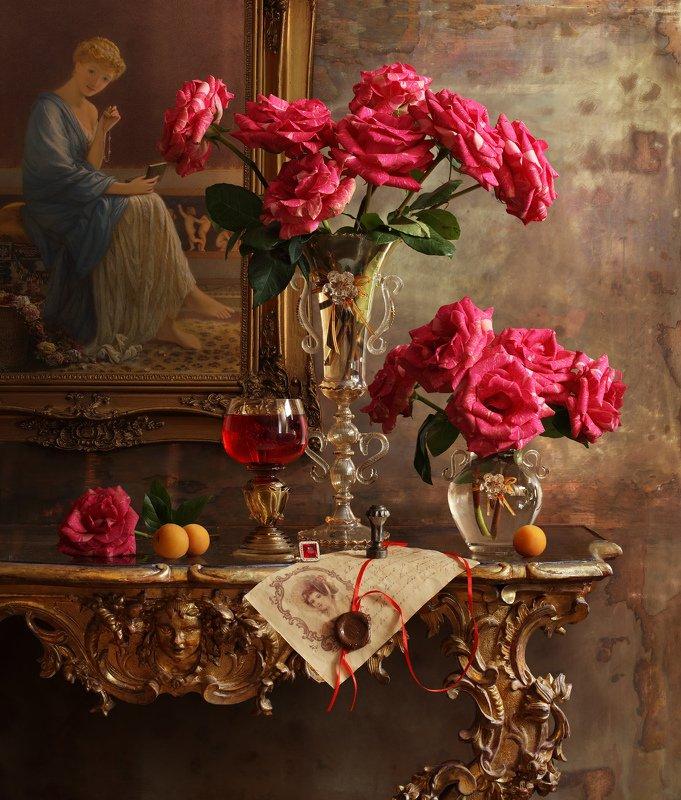 розы, цветы, натюрморт, девушка, картина, стекло, фрукты Натюрморт с розамиphoto preview