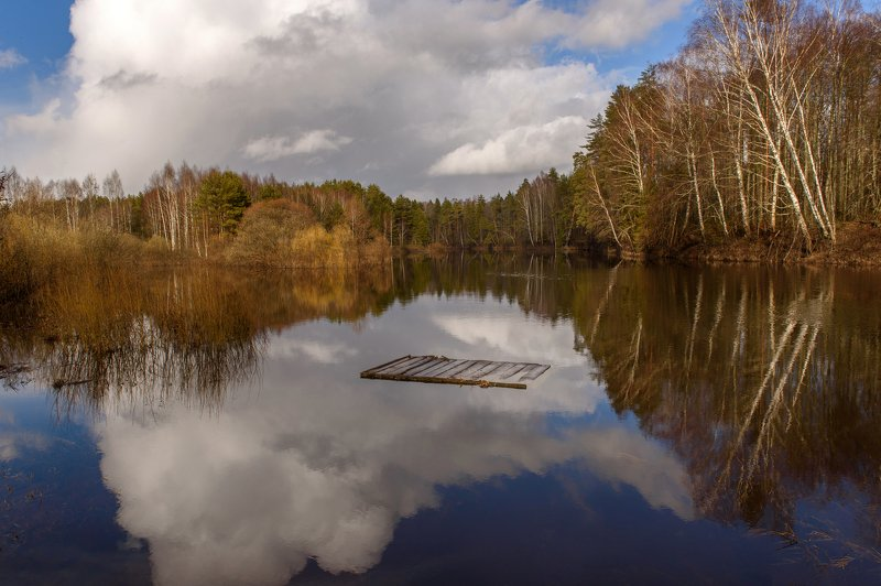 плот, закат, река, отражение, пейзаж Плот в облакаphoto preview