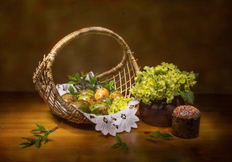 натюрморт, пасха, яйца, кулич Со светлой Пасхой! фото превью