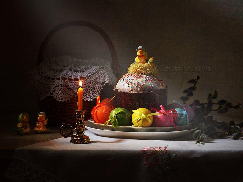 натюрморт, пасха, писанки, яйца, кулич, свеча Светлой Пасхи!photo preview