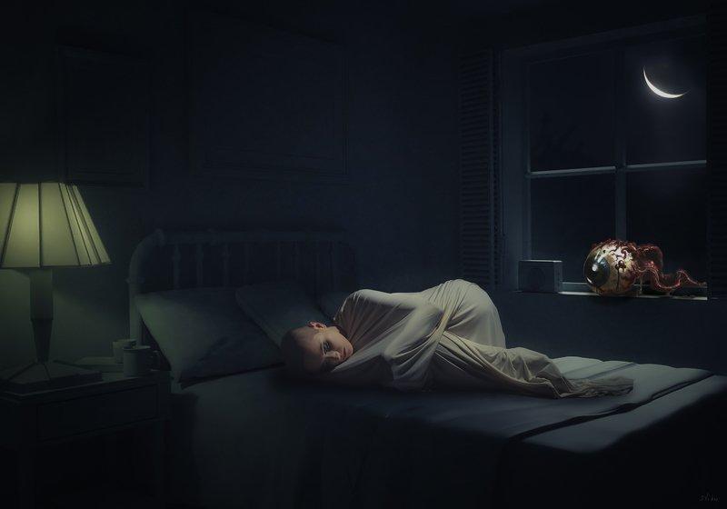 девушка, комната, окно Окоphoto preview