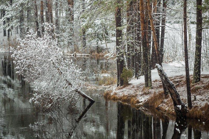 снег апрель озеро Временный нарядphoto preview