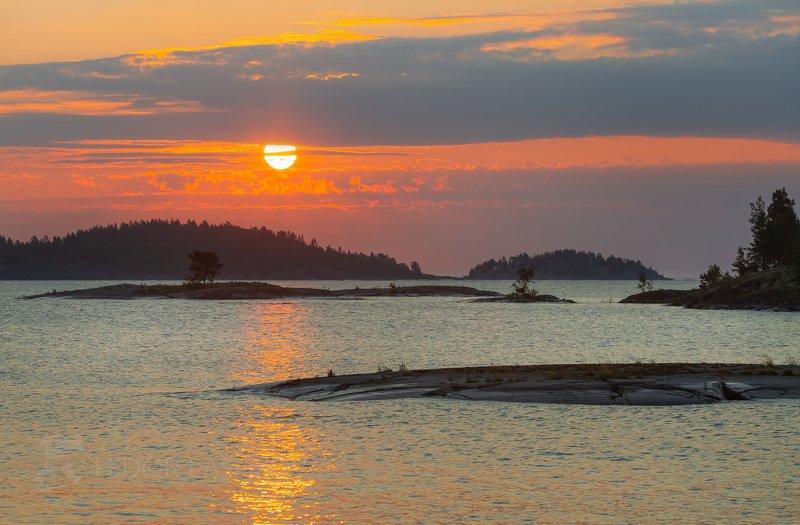 ладожское озеро, карелия, шхеры, лето, остров, берег, вода, рассвет, плавание, путешествие, сосна, облака, солнце, Ладожский рассветphoto preview