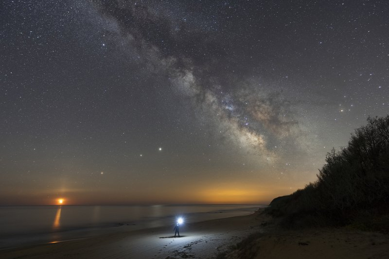 astrophotography, night photography, milky way Moon, Mars, Saturn and Jupiter creating a line bellow the Milky Way core.photo preview