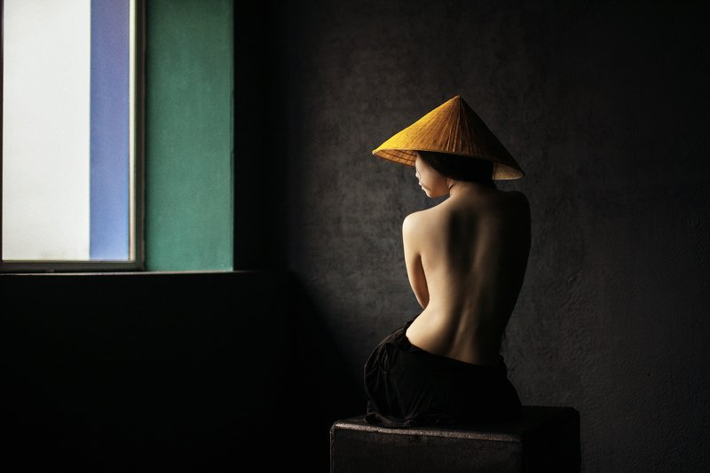Vietnam, non, sugegasa, girl, body, Nude, beautiful, slender, model, yellow, orange, geometry, minimalism, Asian, flexibility, elasticity, pattern, dark, dark hair, East, Eastern appearance Asianphoto preview