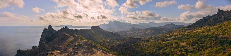 карадаг, осень, октябрь, горы, небо, облака, панорама Карадаг в октябреphoto preview
