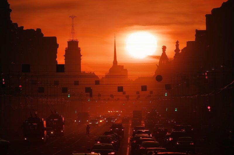 Город, пейзаж, закат Закат над Петербургомphoto preview