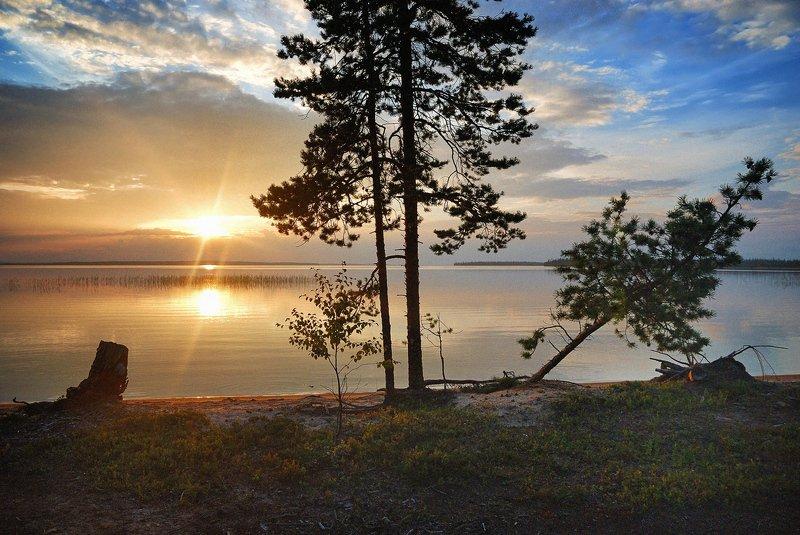 кольский, закат, вода, сосны Закат на Канозереphoto preview