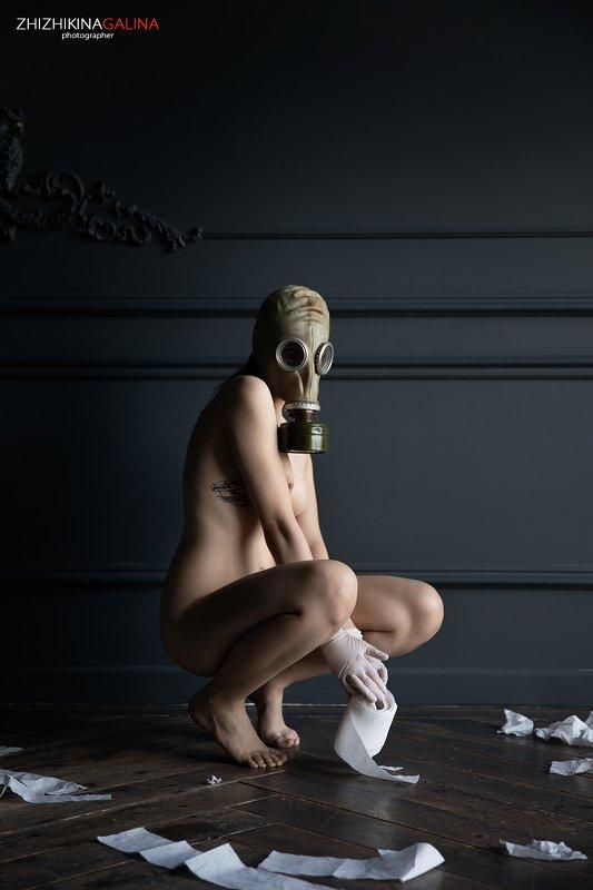 жанр, портрет, противогаз, туалетная бумага, ню, артню, nude, nu, artnu, face, portrait,карантин, Туалетная бумага не только чтобы двери открывать...photo preview