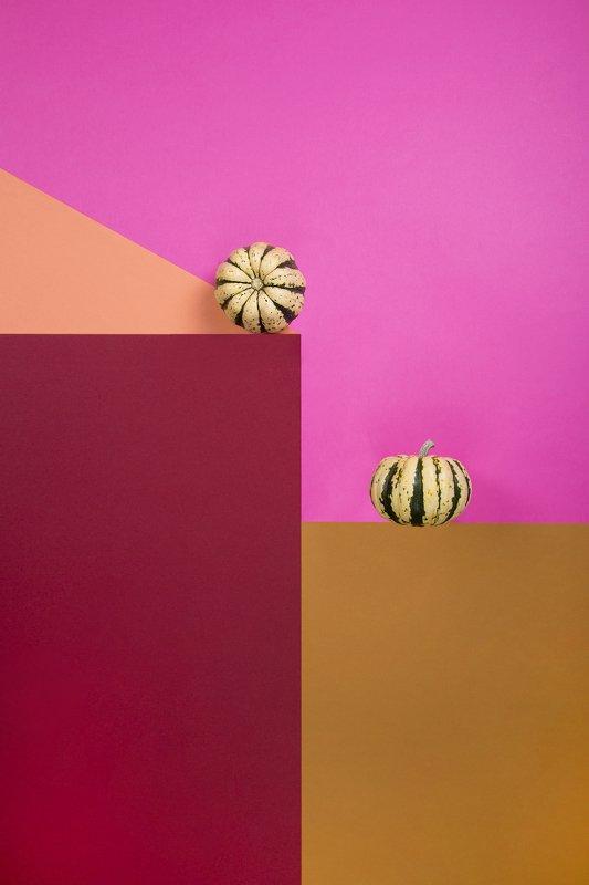 Геометрический натюрморт с тыквамиphoto preview
