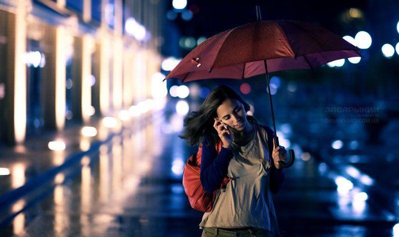 портрет, девушка, дождь, зонт, улица, ночь, натуральный, свет, 5d, mark, ii, 85мм, 1.4 cinestylephoto preview