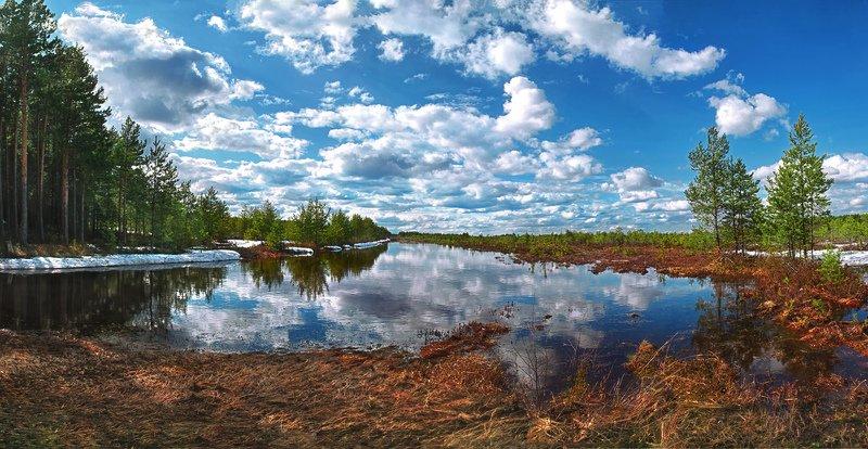 природа, весна, панорама По дороге с облаками... :)photo preview
