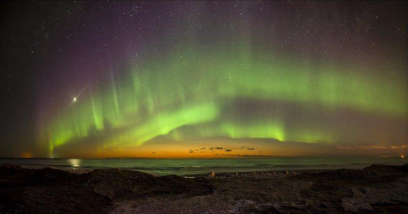 архангельская обасть, ночное фото, белое море, русский север, северное сияние Огни Беломорьяphoto preview